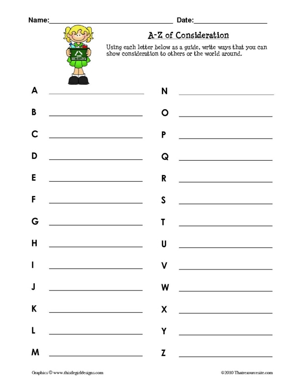 A-Z of Consideration Worksheet