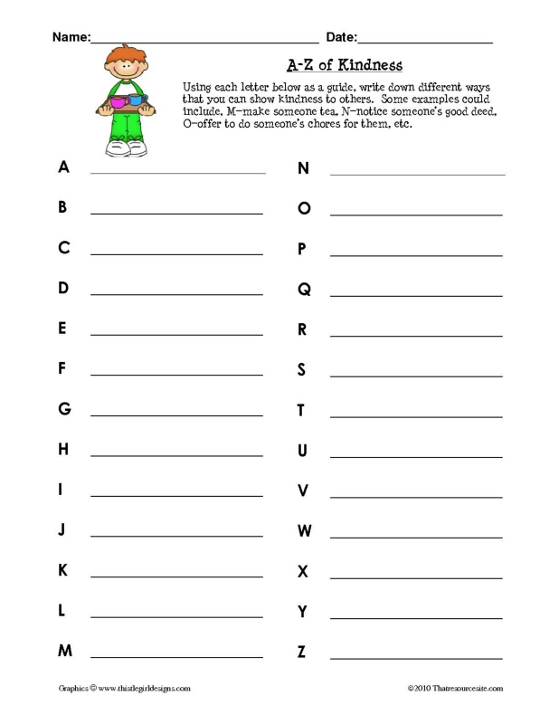 A-Z of Kindness Worksheet