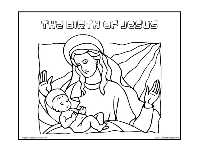 The Birth of Jesus Christmas Coloring Sheet