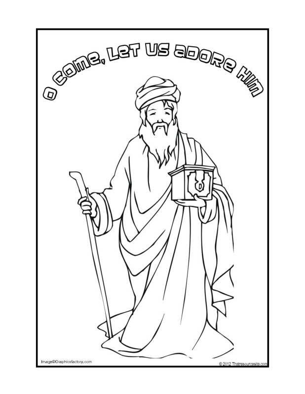 O Come Let Us Adore Him Christmas Coloring Sheet