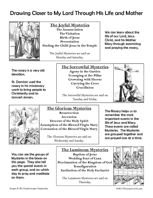 Printables Parts Of The Rosary Worksheets luminous mysteries that resource site part 6 rosary reference sheet for children