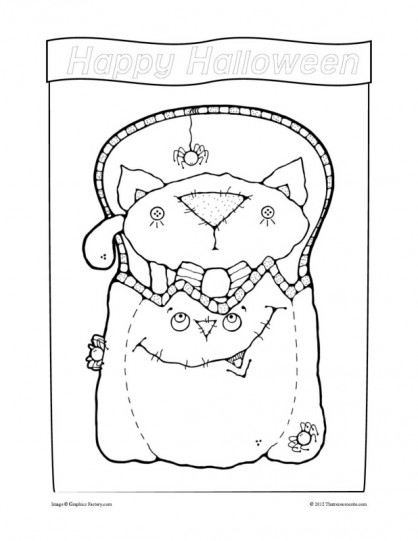 Trick or Treat Kitty Halloween Coloring Sheet