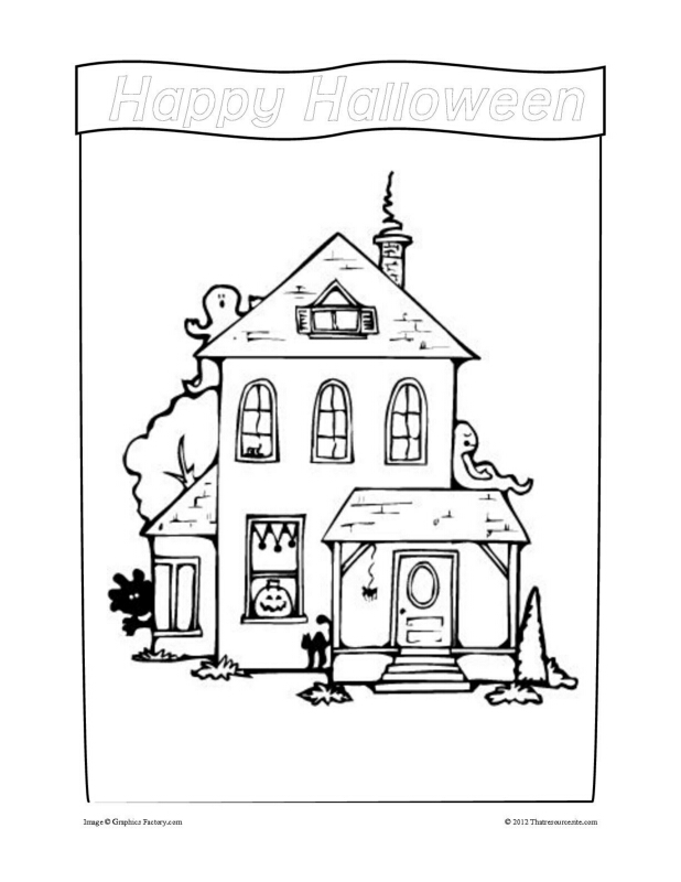 Halloween House Coloring Sheet