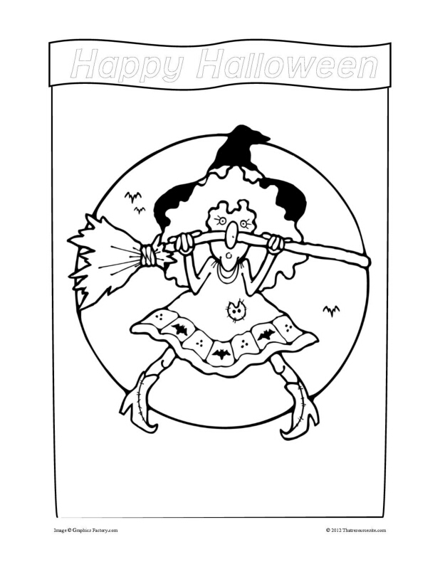 Little Witch Coloring Sheet