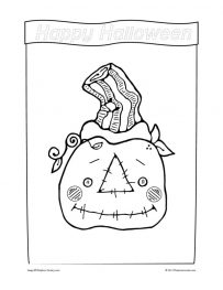 Country Scarecrow Head Coloring Sheet