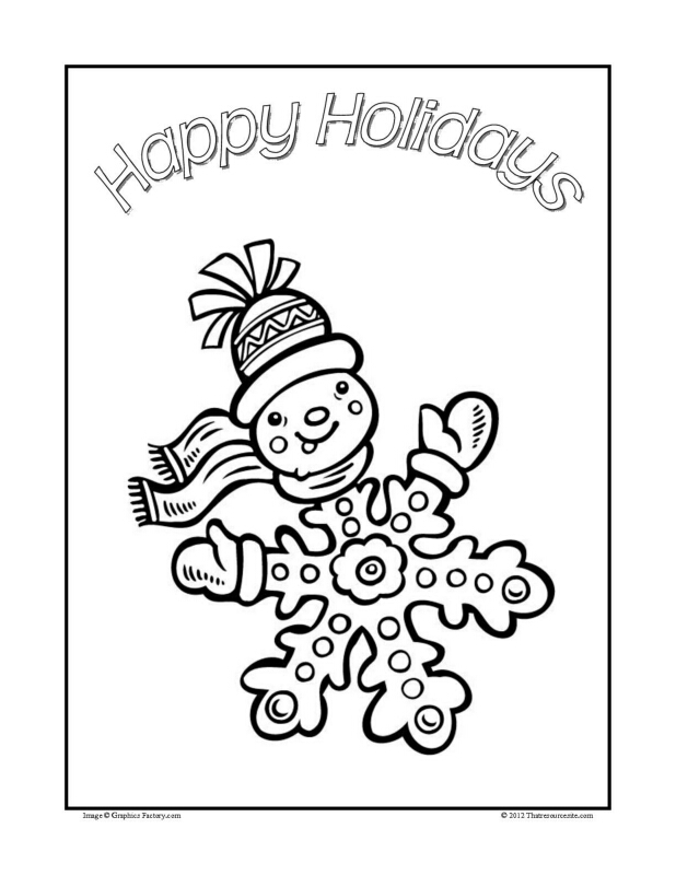 Christmas Coloring Sheet Featuring a Happy Snow Flake