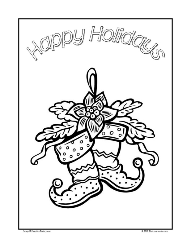 Christmas Coloring Sheet Featuring Hanging Stockings