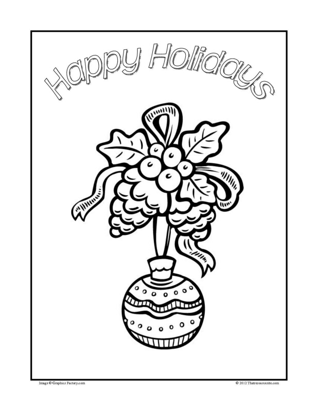 Christmas Coloring Sheet Featuring a Hanging Ornament