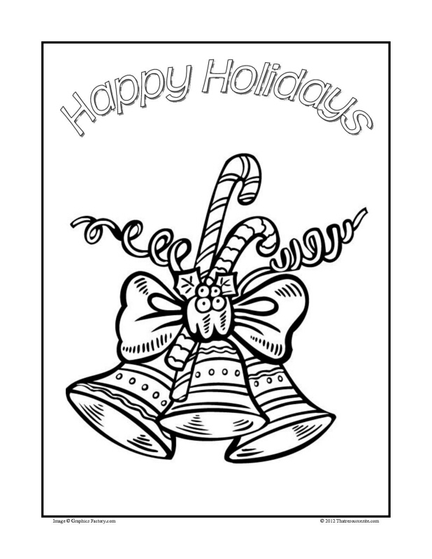 Christmas Coloring Sheet Featuring Bells and Candy Canes