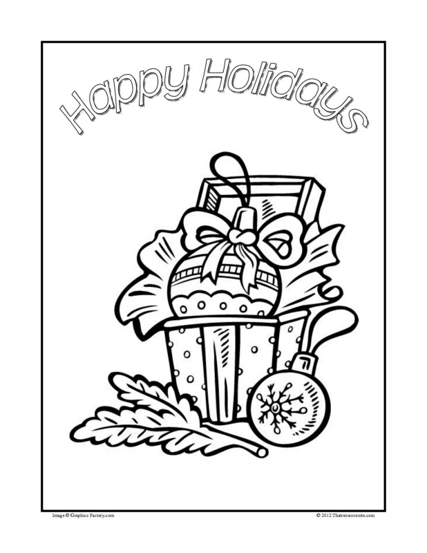 Christmas Coloring Sheet Featuring Favorite Symbols of the Season