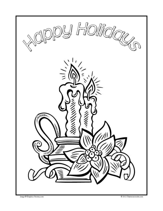 Christmas Coloring Sheet Featuring Warm Candles and Poinsettias