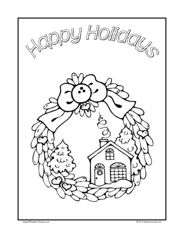 Home for the Holidays Christmas Coloring Sheet