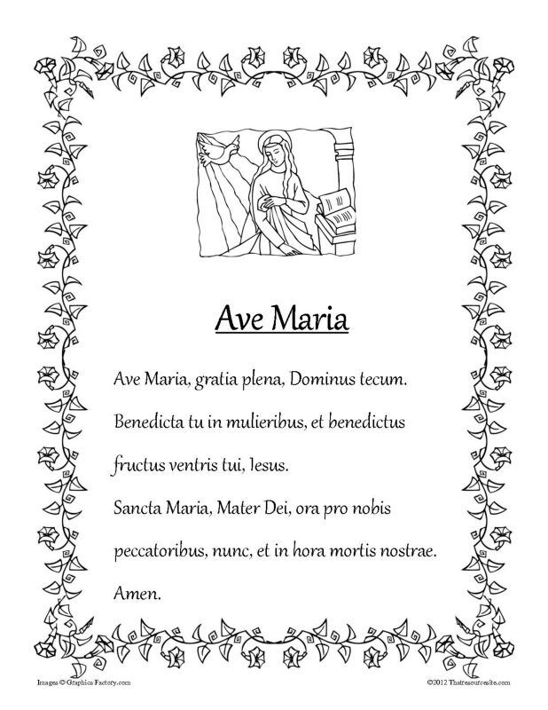 Ave Maria Prayer Sheet in B/W