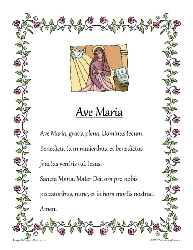 Ave Maria Prayer Sheet