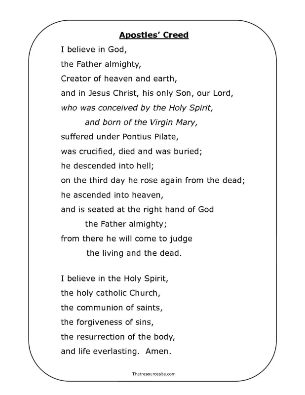 Apostles' Creed Printable Prayer Page