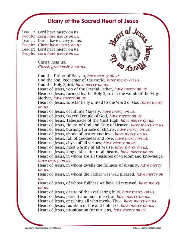 Litany of the Sacred Heart of Jesus Printable Prayer Sheet