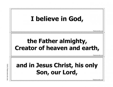 Apostles' Creed Prayer Game in B/W