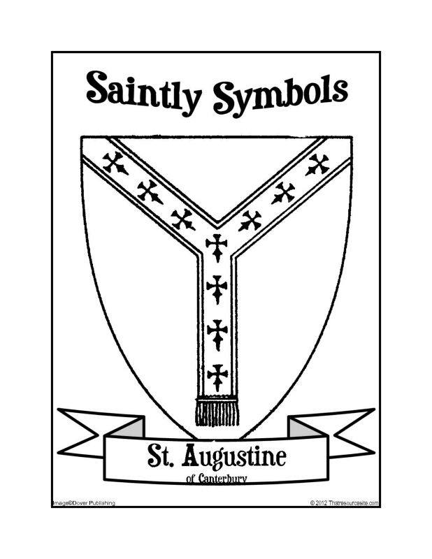 Saintly Symbols of St. Augustine of Canterbury Coloring Sheet