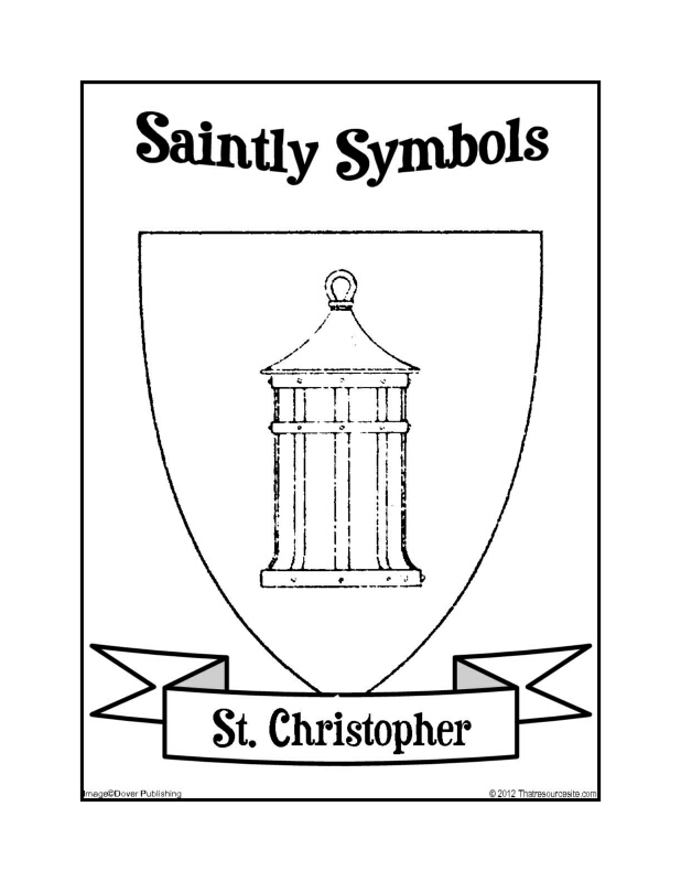 Saintly Symbols of St. Christopher Coloring Sheet