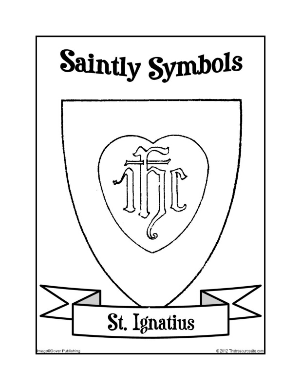 Saintly Symbols of St. Ignatius Coloring Sheet