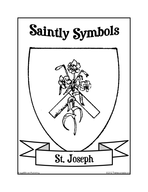 saintly symbols of st joseph coloring sheet that resource site