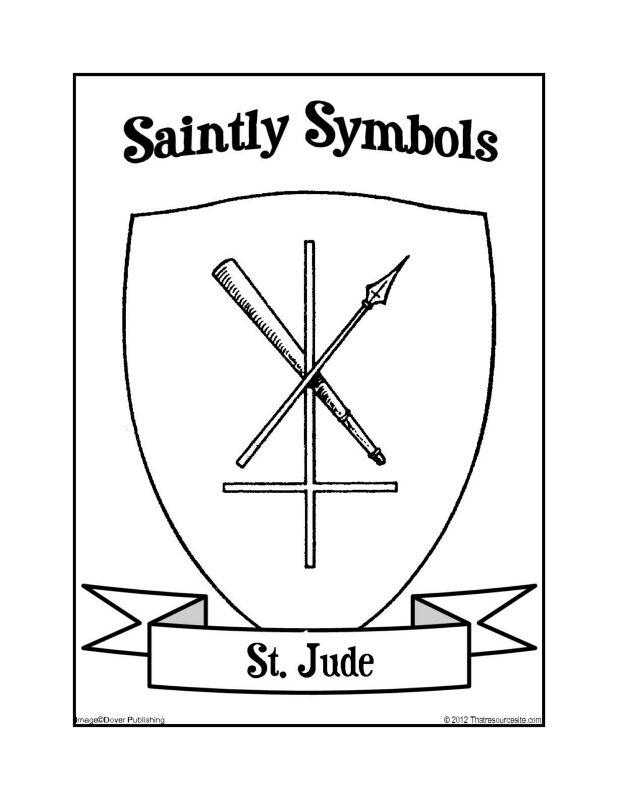 Saintly Symbols of St. Jude Coloring Sheet