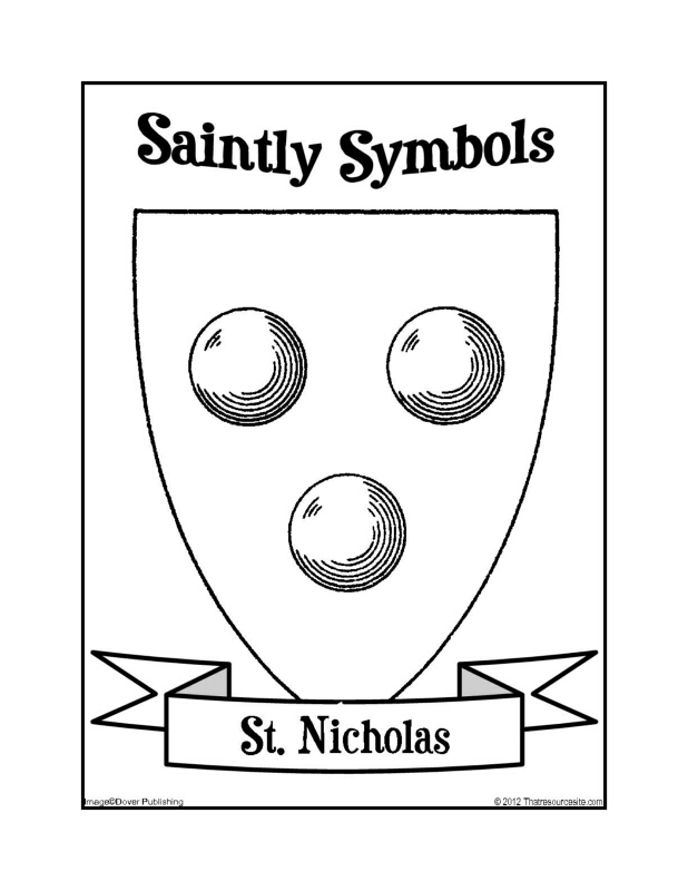 Saintly Symbols of St. Nicholas Coloring Sheet
