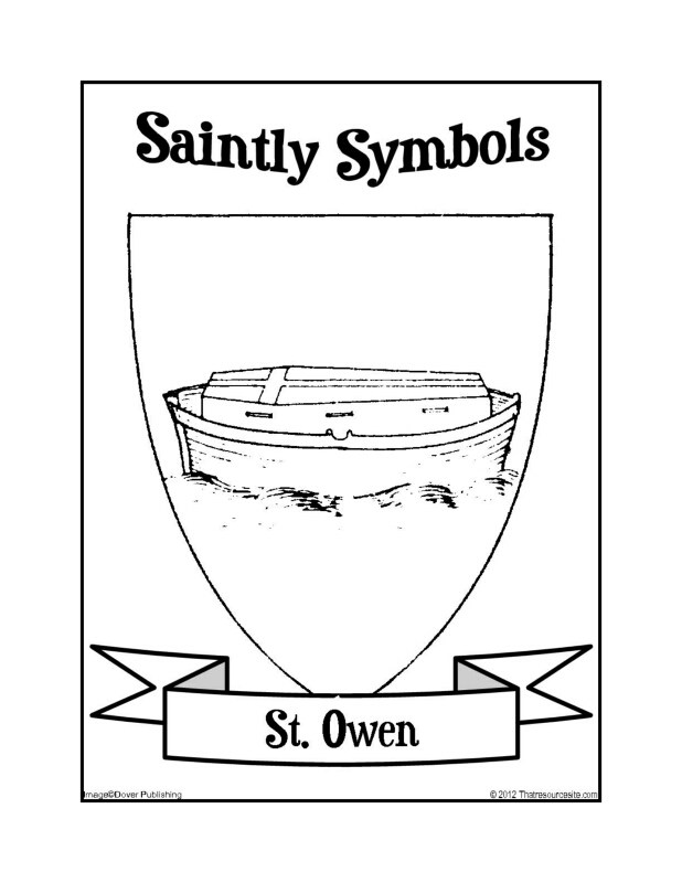 Saintly Symbols of St. Owen Coloring Sheet