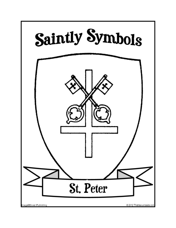 Saintly Symbols of St. Peter Coloring Sheet