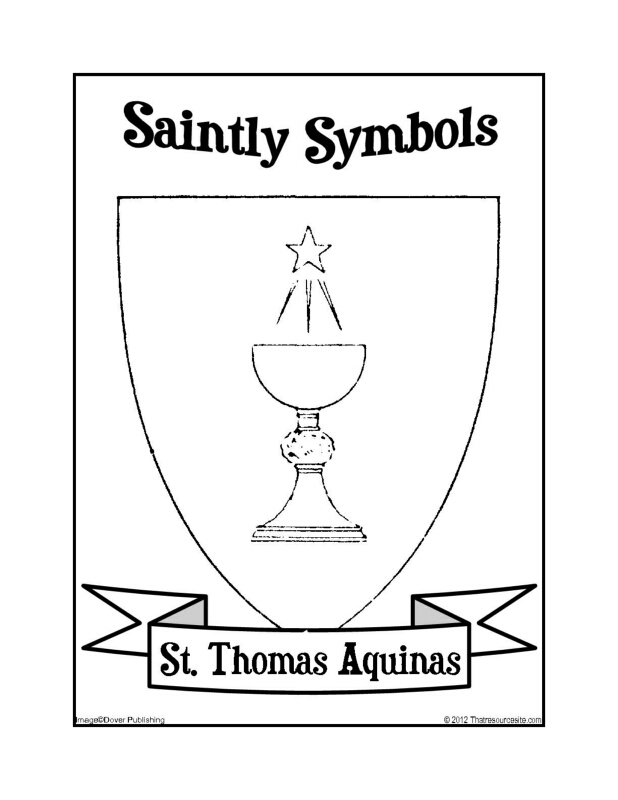 Saintly Symbols of St. Thomas Aquinas Coloring Sheet