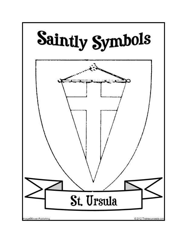 Saintly Symbols of St. Ursula Coloring Sheet
