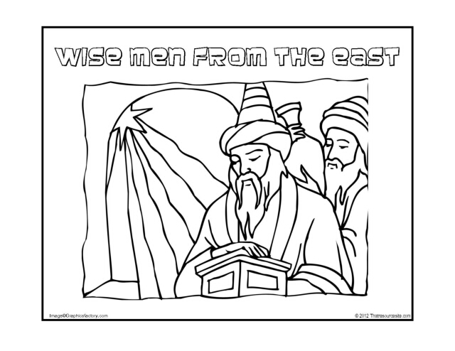 Wise Men from the East Christmas Coloring Sheet