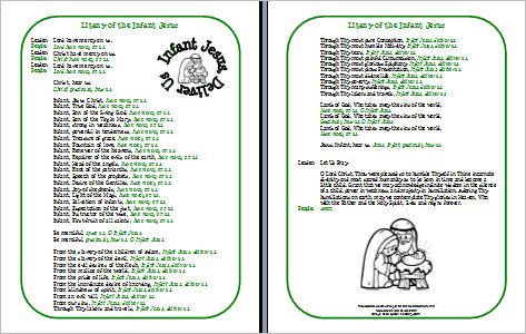Litany of the Infant Jesus Printable Prayer Sheet for Children