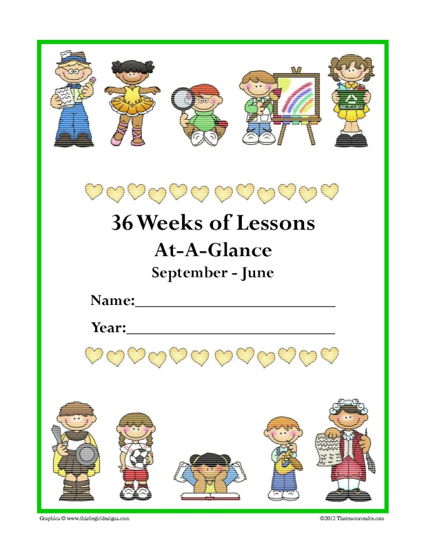 Kids' Year-at-a-Glance Lesson Planner from Sept. to June