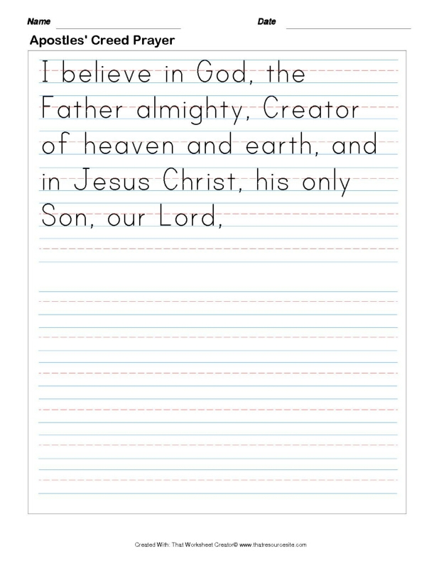 Write the Apostles' Creed Prayer Set