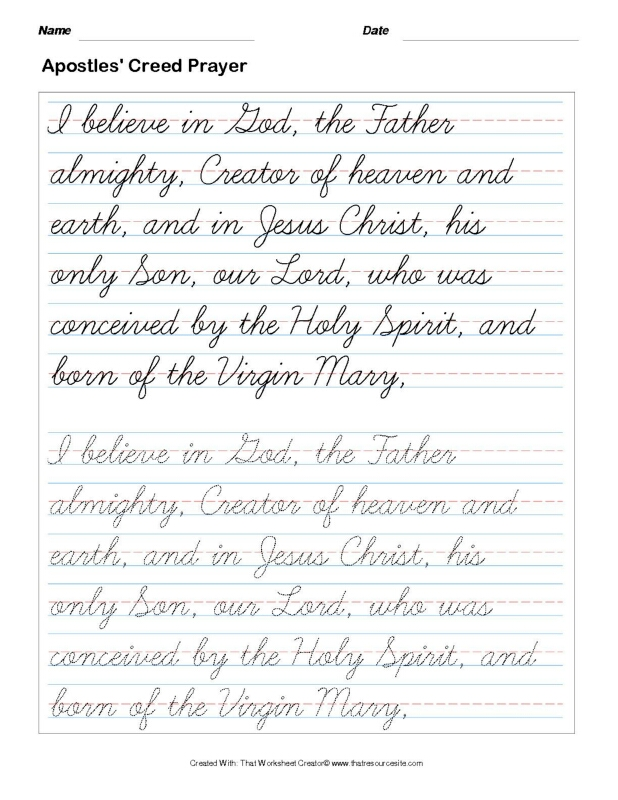 Trace the Apostles' Creed Prayer in Cursive Set