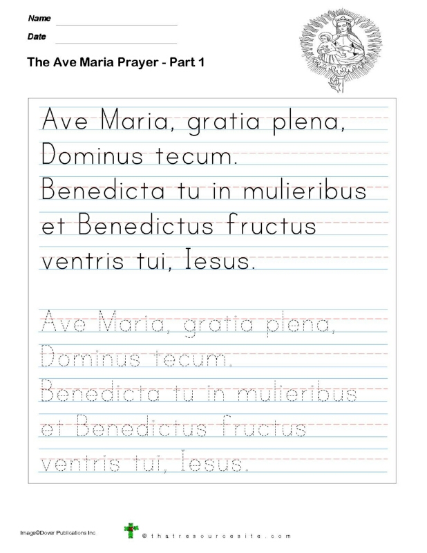Trace the Ave Maria Prayer Set