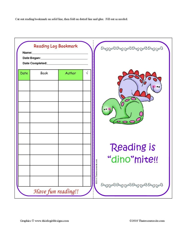 Dinosaur Theme Reading Log Bookmark