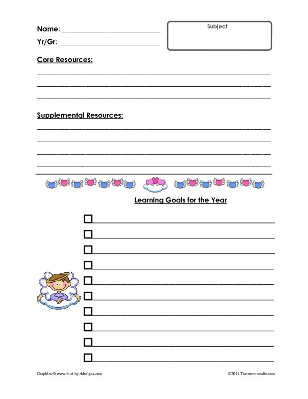Angel Theme Goal Planning Sheets