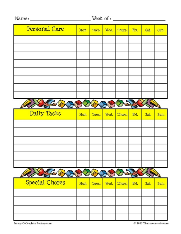 Bright Yellow 3-Box Chore Chart with Ed. Theme - That ...