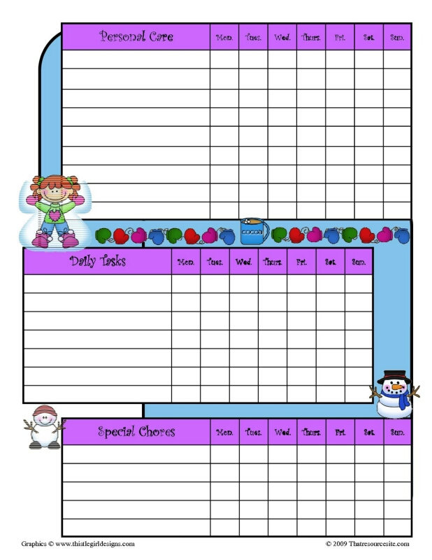 Winter Fun Theme Chore Chart 2