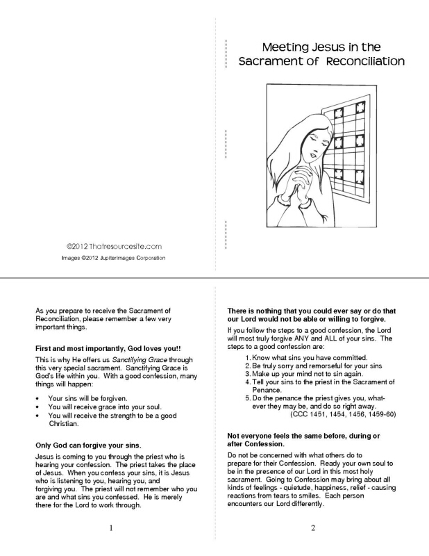 Sacrament of Reconciliation Preparation Booklet  (Version 2)