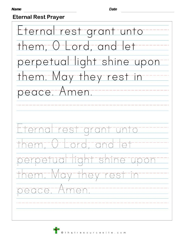 Trace the Eternal Rest Prayer
