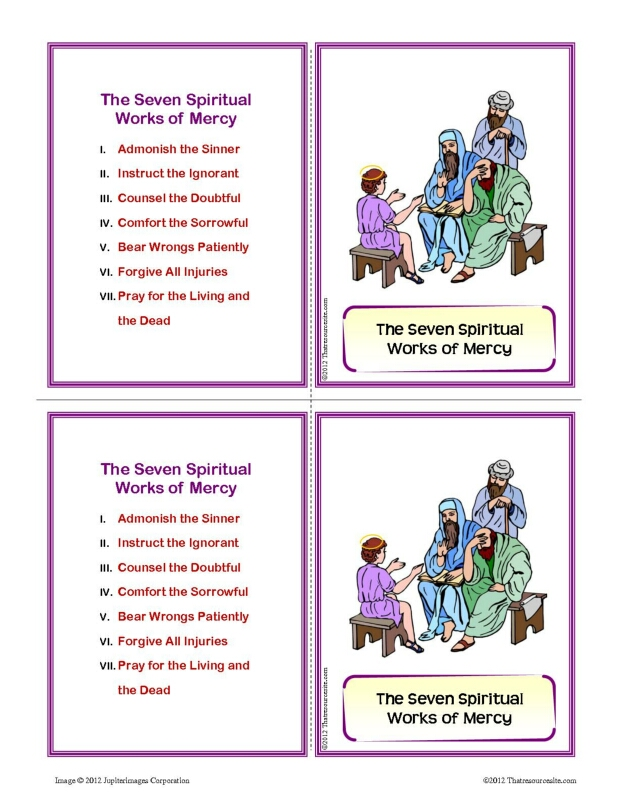 Seven Spiritual Works of Mercy Learning Card Set