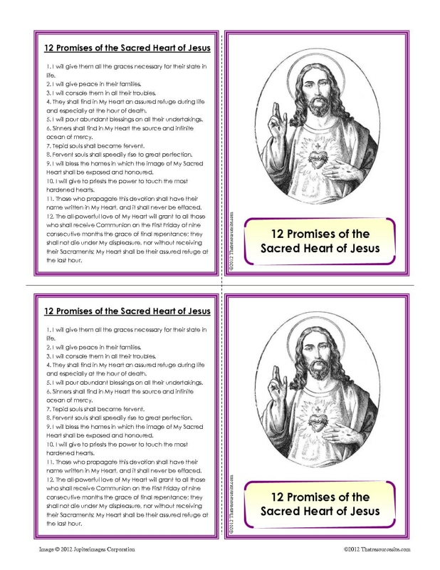 Twelve Promises of the Sacred of Jesus Learning Card Set