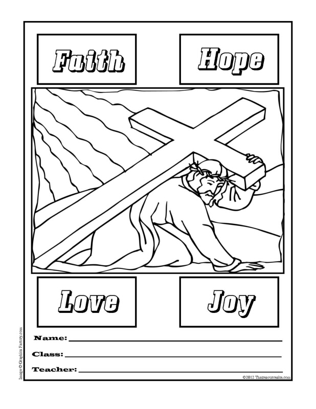 Printable Folder Cover Featuring the Road to Calvary and Four Virtues
