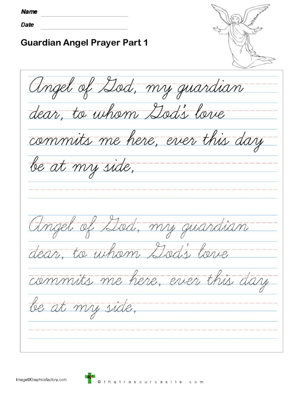 Trace the Guardian Angel Prayer in Cursive