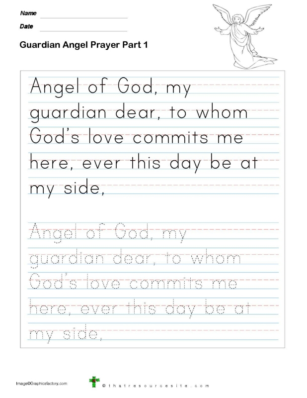 Trace the Guardian Angel Prayer in Manuscript