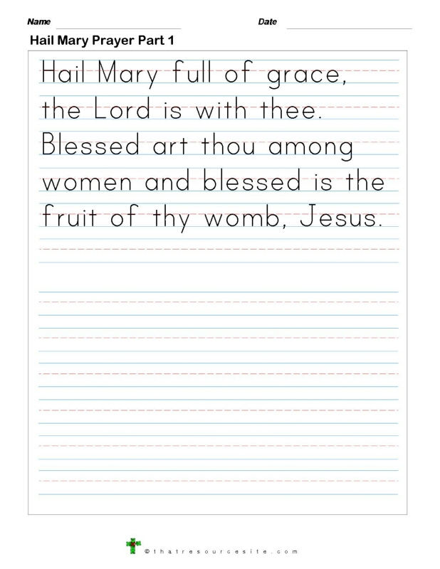 Write the Hail Mary Prayer