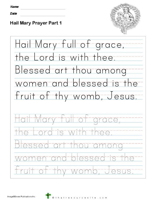 Trace the Hail Mary Prayer in Manuscript